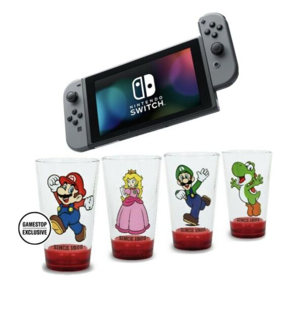 READY TO SHIP Nintendo Switch with Gray Joy-Cons System with Mario Glassware