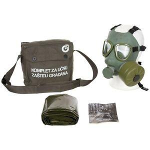 Jugoslawische-Schutzmaske-ABC-Gasmaske-M-1-M1-gruen-unbenutzt-Maske-Filter-Poncho
