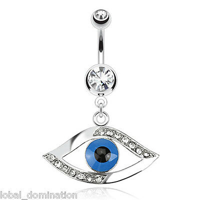 Egyptian Eye Belly Ring Paved CZ Clear Gem Pierced Navel Naval Blue (w828)