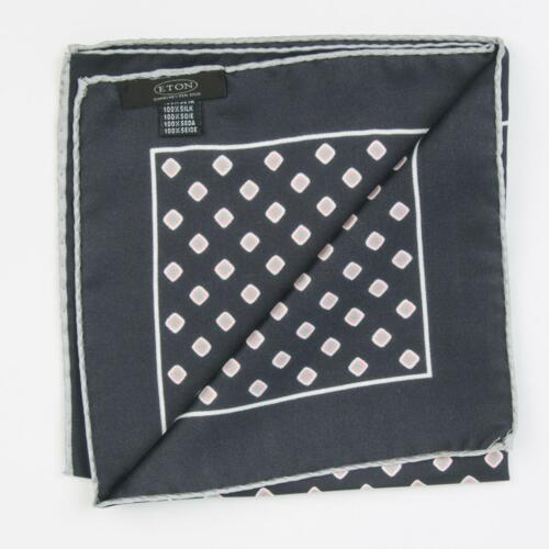 "Eton $65 Navy Blue Pink Green Square 100/% Silk Pocket Square 13"" Made in Italy"
