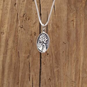 Details about Sterling Silver Buddha Hand Lotus Blossom Flower Charm  Necklace Gyan Mudra Box