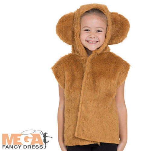 Brown Bear Tabard Kids Fancy Dress Zoo Animal Kids World Book Day Costume Outfit