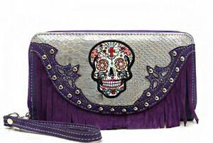 Sugar Skull Wristlet Wallet Purple Fringe with Double Zipper & Wrist Strap New