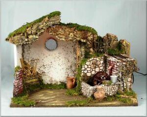 Hut With Windmill Water And Light 50X26X36CM For Crib Presepistica
