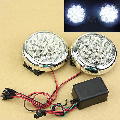 2x 15 LED 12V Round Daytime Running Driving Lights DRL Front Fog Tail Work Lamp