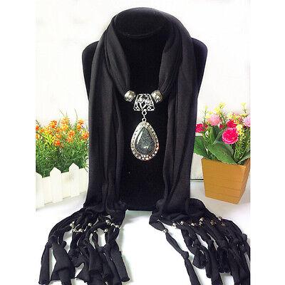 Soft Tassel Beads Water Drop Pendant Necklace Bohemian Wrap Shawl Scarf WZ
