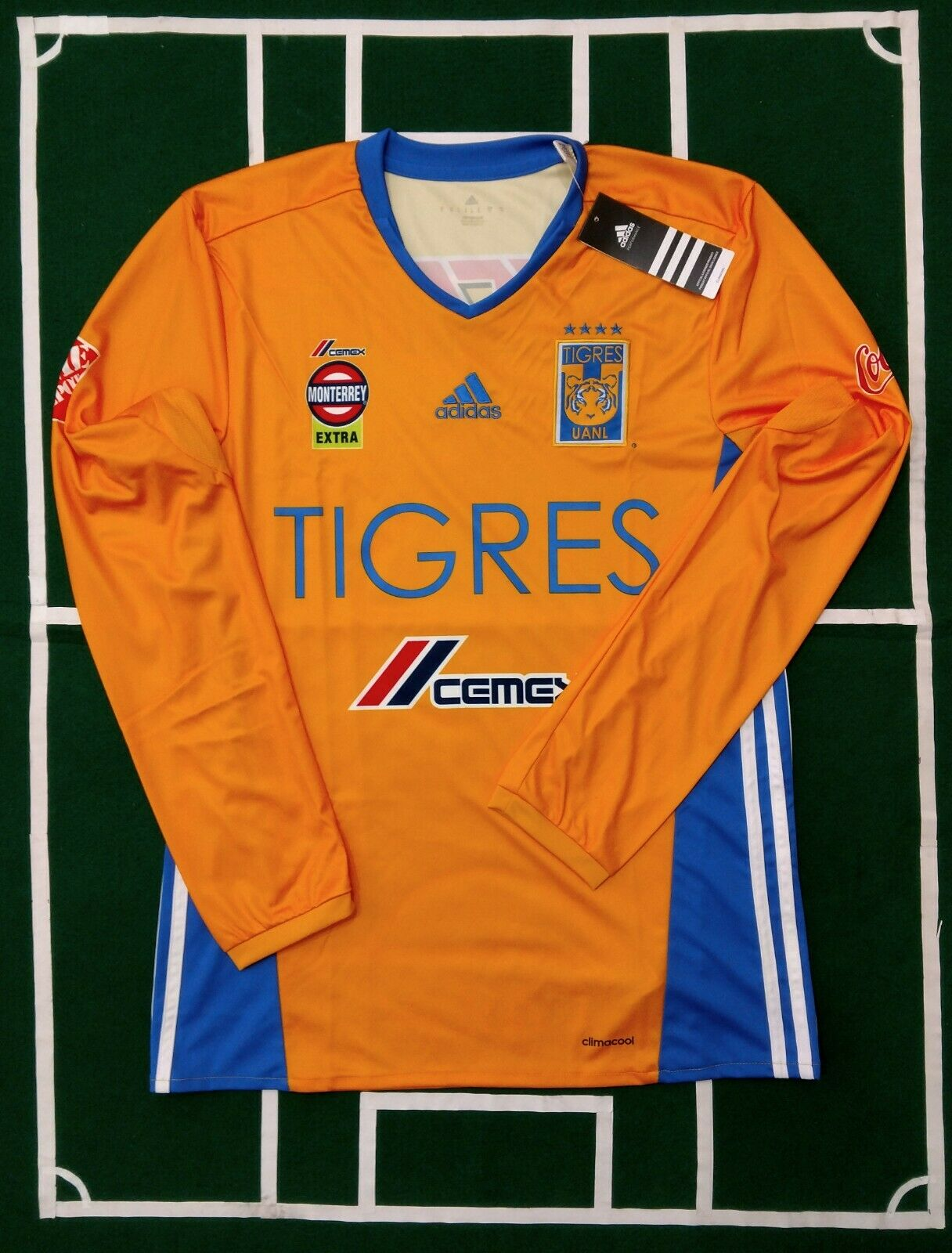 ADIDAS TIGRES UANL JERSEY LOCALHOME 20162017 giallo LONG SLEEVES  NWT
