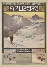 Vintage Ski Posters ARLBERG, AUSTRIA, 1910, 250gsm A3 Travel Print