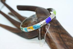 Vintage-Sterling-Silver-Ladies-Mexican-Enamel-Bangle-Women-039-s-Bracelet-7-034-13-Gr