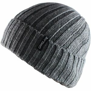 74444e89ace Image is loading CAMOLAND-Mens-Fleece-Wool-Cable-Knit-Winter-Beanie-