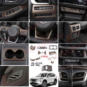 For Nissan Rogue 2021-2022 Wood grain Interior Full set Accessories Kit Trim 17P