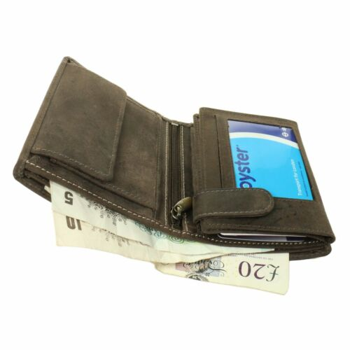 Mens Distressed Oil Brown Genuine Real Leather Credit Card /& Coin Holder Wallet