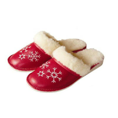 Leather Sheep Wool Fluffy Snowflake White Women slippers mules size 4 5 6 7 8 9