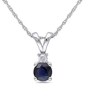 Amour 10k White Gold 5/8 Ct TGW Sapphire and Diamond Accent Pendant Necklace 17""
