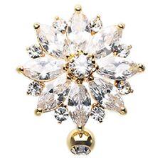 Belly Button Ring Navel Golden Radiant Flower Multi-Gem Reverse 14g