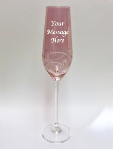 Image Is Loading Personalised Engraved Diamante Crystal Pink Champagne Flute Retirement