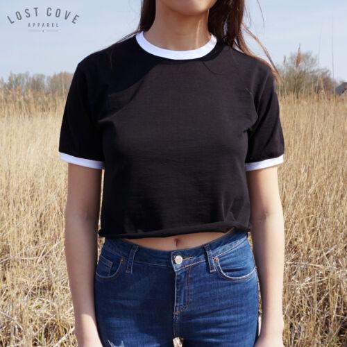 * Plain Crop Ringer Tee T-shirt Top Festival Grunge American Cropped *