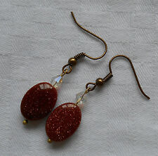 Unique handmade oval brown goldstone antique gold plated earrings +free stoppers