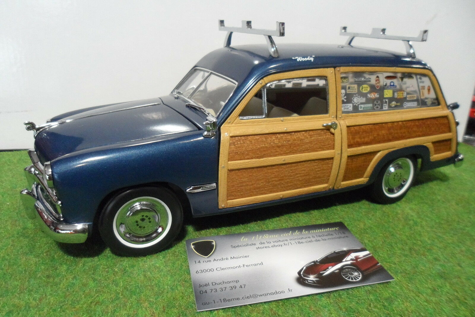 FORD FORD FORD WOODY STATION WAGON 1949 blue au 1 18 MOTOR CITY CLASSICS voiture miniature dca989