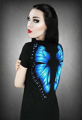 Restyle T-Shirt Schmetterlings Flügel Blau Fee B-Ware  Gothic Fairy Wings RS16