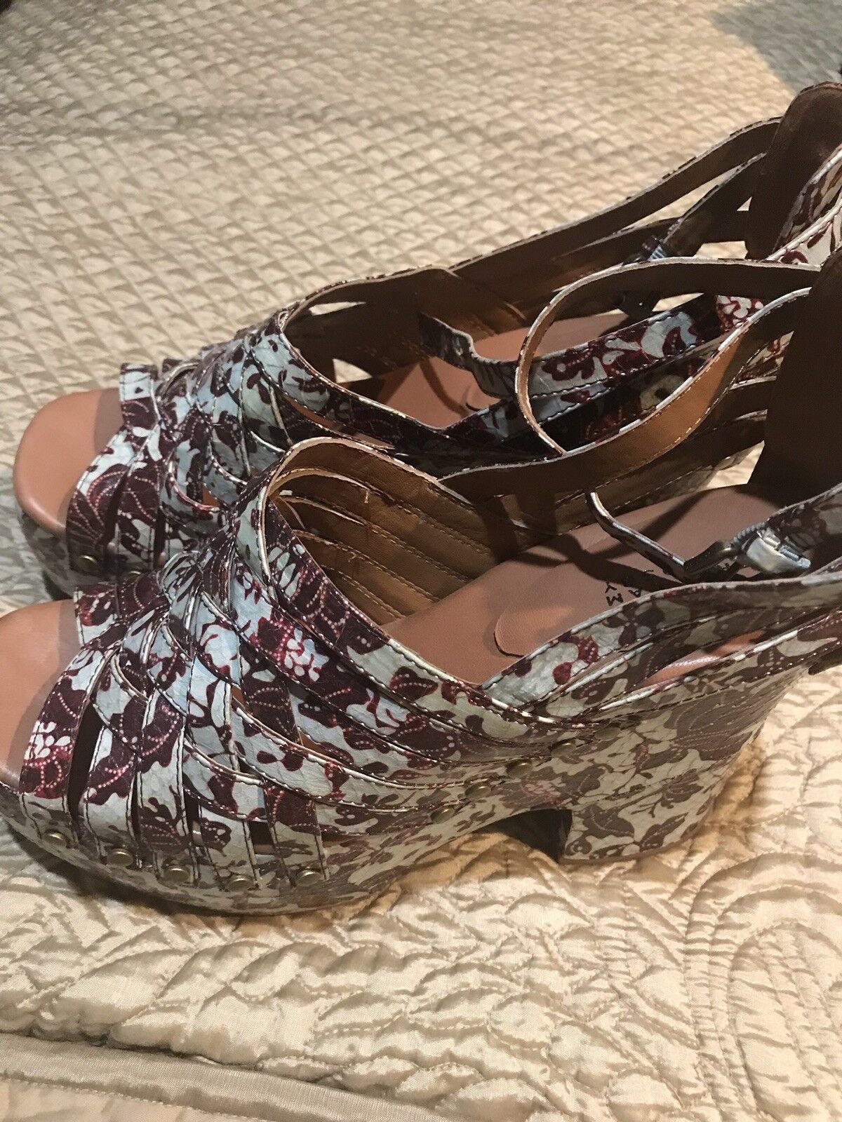 Derek Lam Donna Shoes Snake Skin Shoes Donna light green with burgundy flowers size 9.5 d2190d