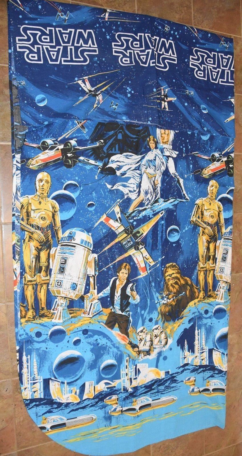 NWOT Vintage Star Wars BIBB FULL Bedding Top Blanket Sheet 90x105 Unused New