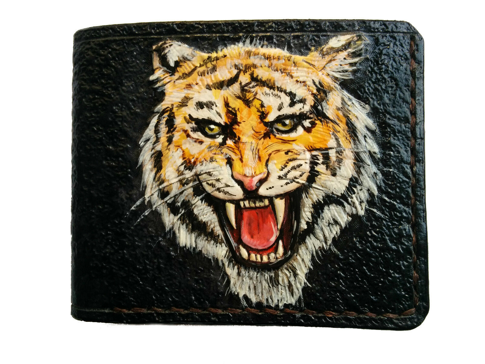 Men's 3D Genuine Leather Wallet, Hand-Carved, Hand-Painted, Tooled, Bengal Tiger