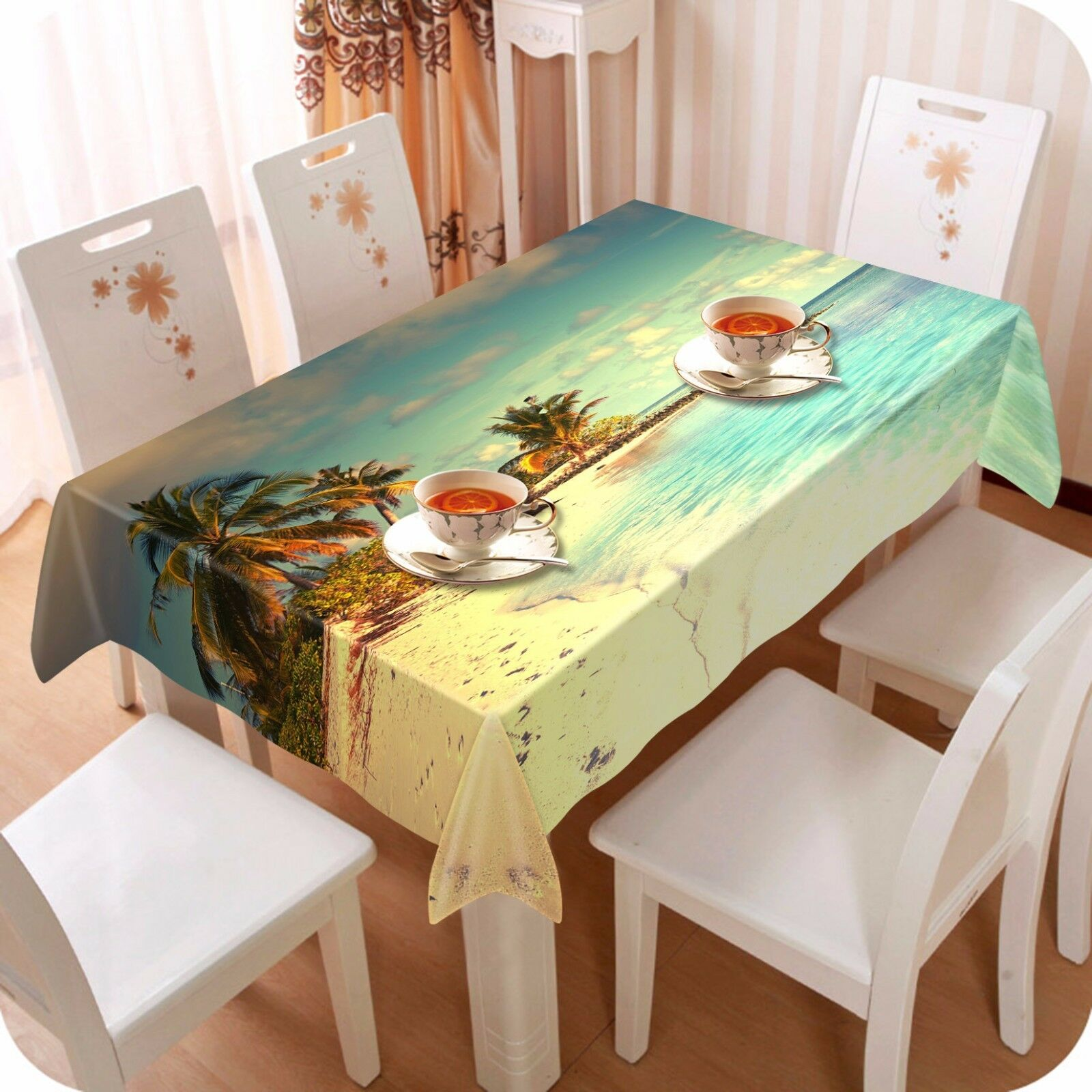 3D Sea Trees Tablecloth Table Cover Cloth Birthday Party AJ WALLPAPER UK Lemon