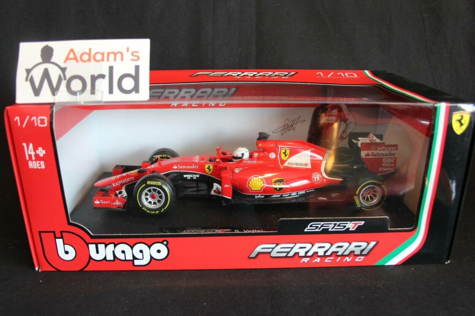 Bburago Ferrari SF15-T 2015 1 18  5 Sebastian Vettel (GER) 900th GP Spa (PJBB)