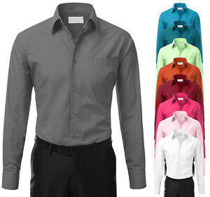 Men-039-s-Tailored-Fit-Button-Up-Formal-French-Convertible-Cuff-Classic-Dress-Shirt