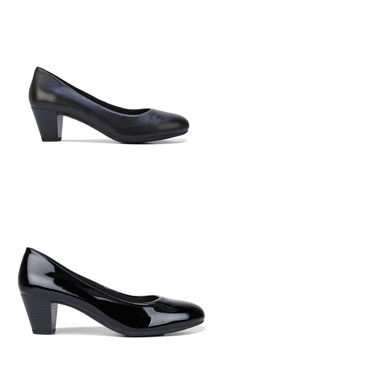 Womens Hush Puppies Carmel Leather Black Patent Heels Heels Heels Pumps Comfort Dress shoes 9edfef