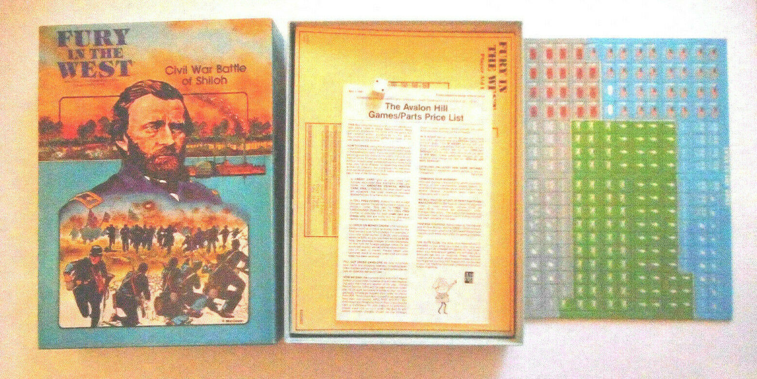Avalon Hill Fury In The West  Bookcase Game Civil War Battle of Shiloh Unpunched