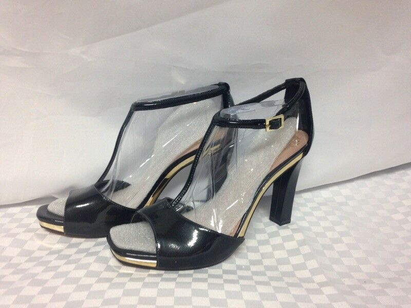 Vince Camuto  Tezer  T-Strap Heels Black 8.5 M Patent Leather Upper New with Box