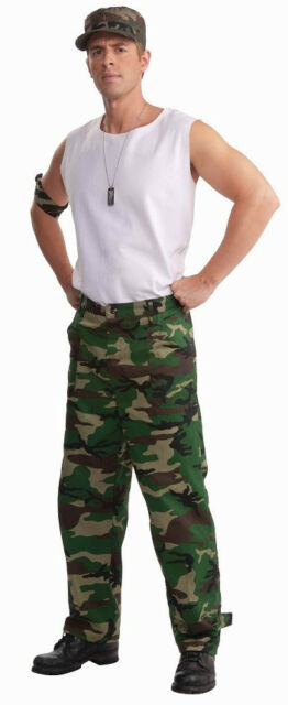 Camo Pants Military Soldier Army Fancy Dress Halloween Adult Costume Accessory