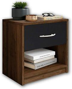 Mobile Comodino in legno cassetto nero broun , Elegante arredo per la camera
