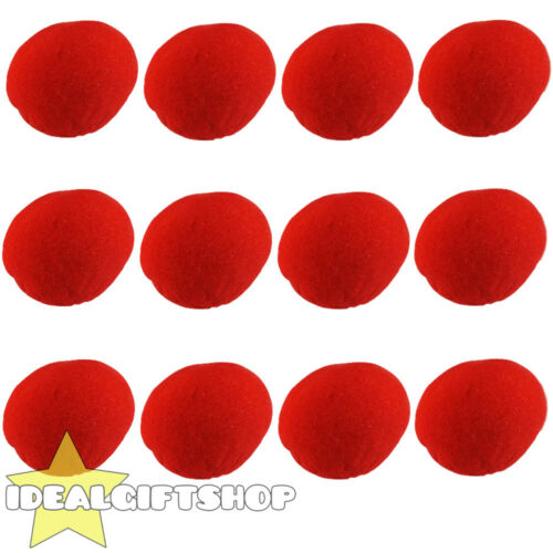 12 PACK OF RED SPONGE NOSES FANCY DRESS COSTUME ACCESSORY CHARITY EVENTS
