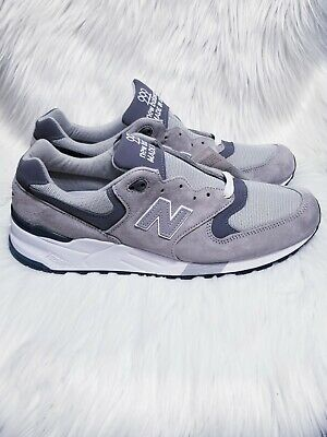 new style 24aba e1a75 New Balance 999 M999CGL Grey Pewter Suede White Running Shoes Mens Size 4 D    eBay