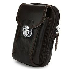 Universal Brown Pouch Leather Smart Phone Belt Clip Wallet Case