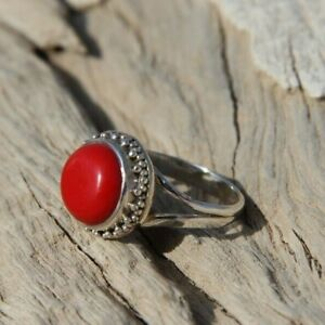Solid-925-Sterling-Silver-Round-Shape-Red-Coral-Designer-Handmade-Ring-All-Size