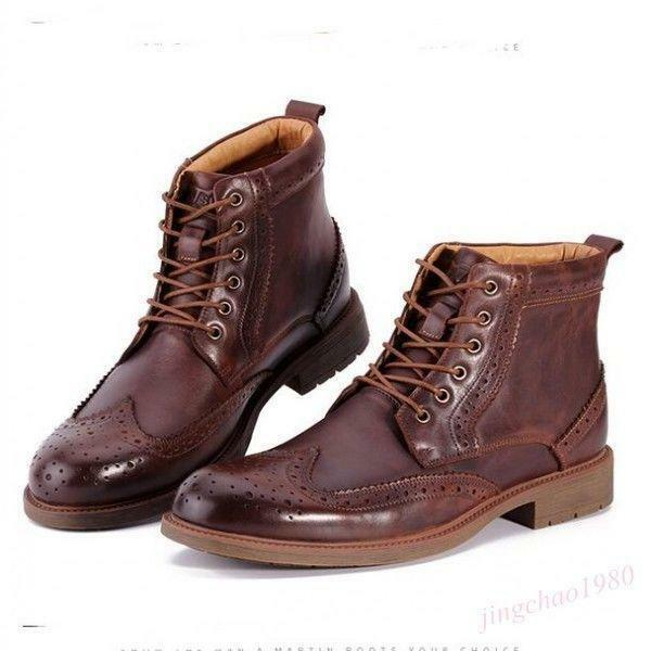Mens Lace Up Leather Brogue Wing Tip Motorcycle Ankle British Boot Carved shoes