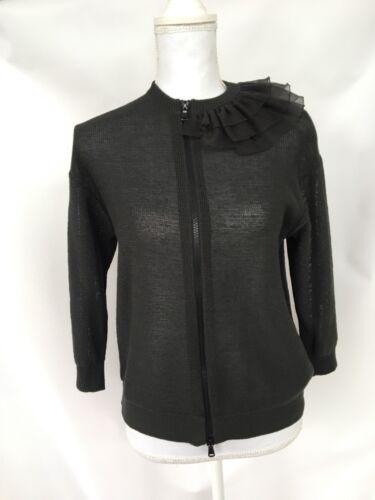Trimmet M Cotton Cardigan Ruffle Grå Sweater Cucinelli Brunello Størrelse wSxqfERW