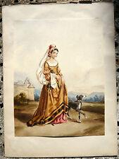 Jolie Aquarelle 1854 Femme Elégante Costume Régions Tradition FRANCE signé BC