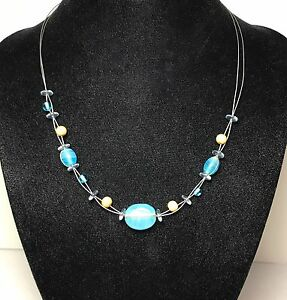 Aqua-Glass-and-Wood-Bead-Necklace-on-Wire-Chain-With-Lobster-Closure