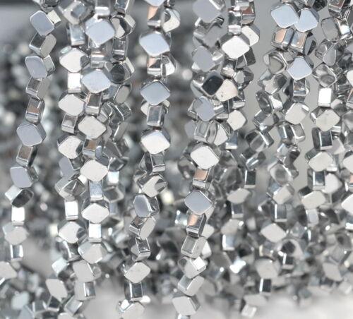 "6X6MM SILVER HEMATITE GEMSTONE DIAMOND SQUARE 6X6MM LOOSE BEADS 16/"""