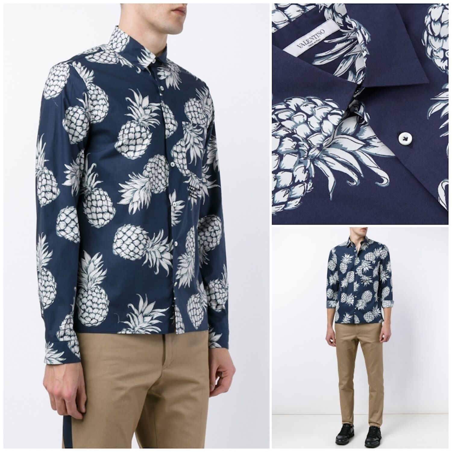 Rare & Great Valentino SS16 Hawaiian Pineapple bluee Print Shirt