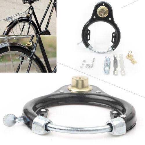 Safe Vintage Bike Bicycle Lock Pad Lock Wheel Set Iron Security w//key Anti-theft