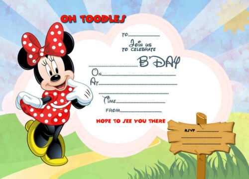 Disney Minnie Mouse kids Birthday Party Invitations X 8 CARDS envelopes