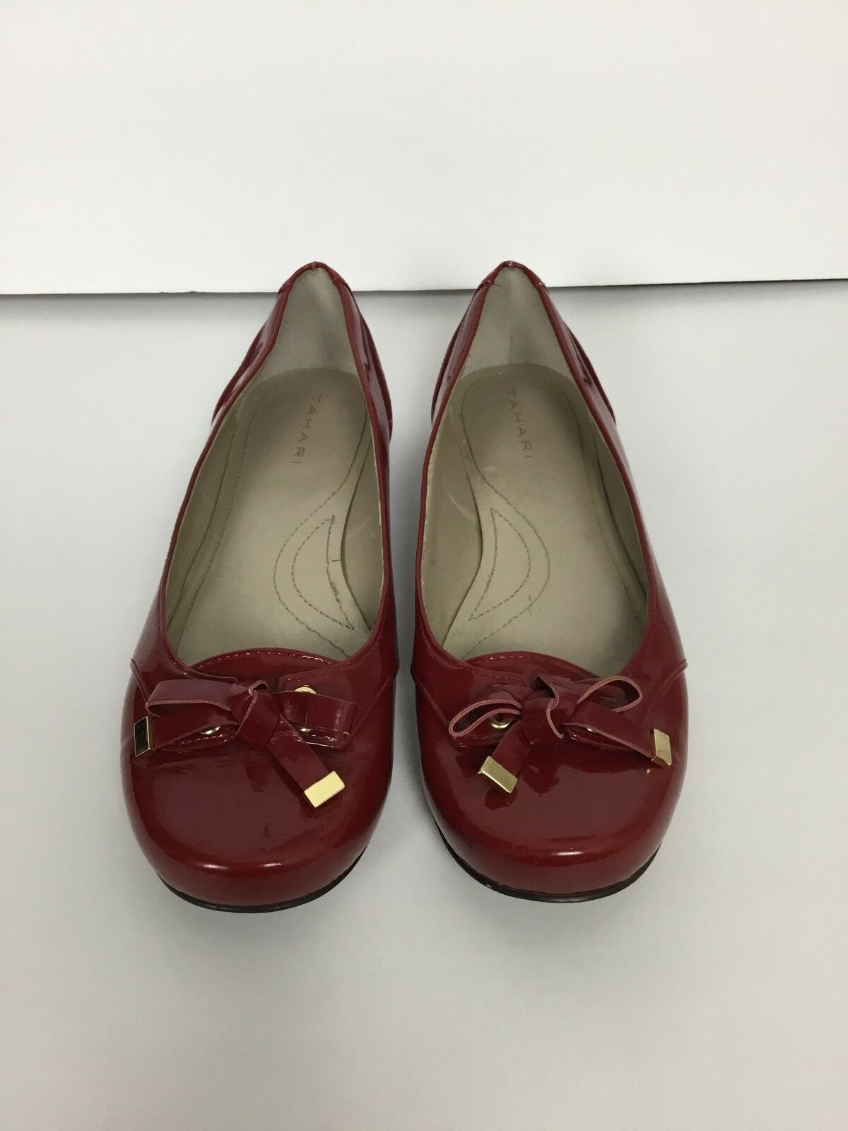 TAHARI RED BOW FLATS BALLERINA SIZE 7.5 ROUND TOE LADIES SHOES