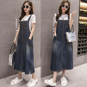 Details About Women Casual Dungaree Dress Overalls Jeans Loose Denim Strap Jumpsuits