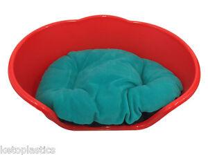 Extra Large Xl Rouge Lit Pour Chien / Chat, Lit / Panier Avec Un Coussin Bleu Sarcelle / Aqua-afficher Le Titre D'origine Riche Et Magnifique